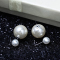 "DoreenBeads Wholesale-Big Pearl Earrings Ear Studs Round Ivory Acrylic Pearl With Stoppers 18mm( 6/8"") x 8mm,10 Pairs No Box"