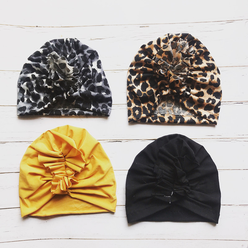Baby Cap Girls Solid Leopard Scarf Elastic Turban Head Wrap Cap Baby Hats For Kids Toddlers Photography Accessories Soft Hat