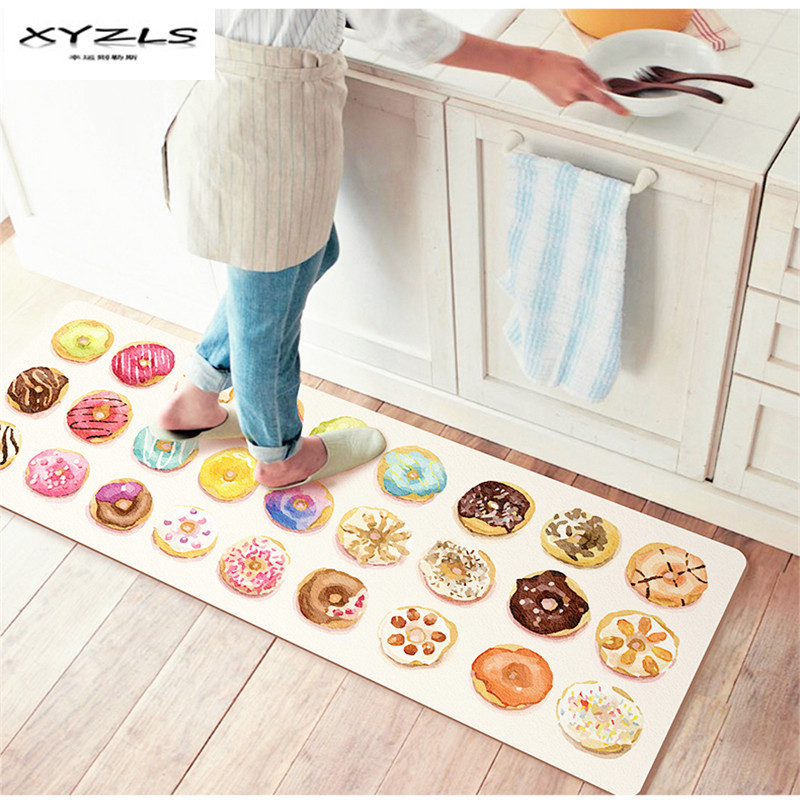 XYZLS Cute Colorful Food Printed Floor Mats PU Kitchen Carpets House Doormats for Living Room Anti-Slip Tapete Rug