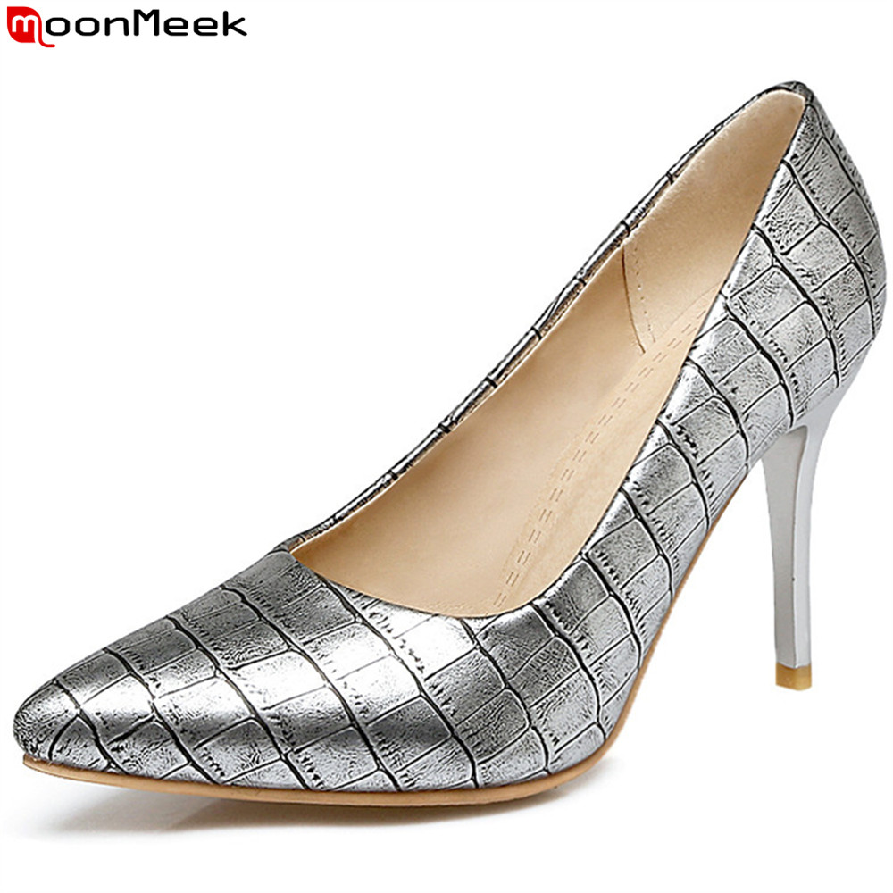 MoonMeek plus size 33-48 fashion spring autumn new women pumps pointed toe ladies prom shoes thin heel shallow high heels shoes spring autumn shoes woman pointed toe metal buckle shallow 11 plus size thick heels shoes sexy career super high heel shoes