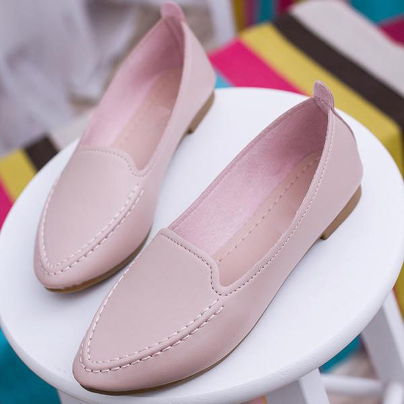 Women Flats Summer Style Casual Solid Pointed Toe Slip-On Flat Shoes Soft Comfortable Women Shoes Ballet Flats Plus Size 35-40