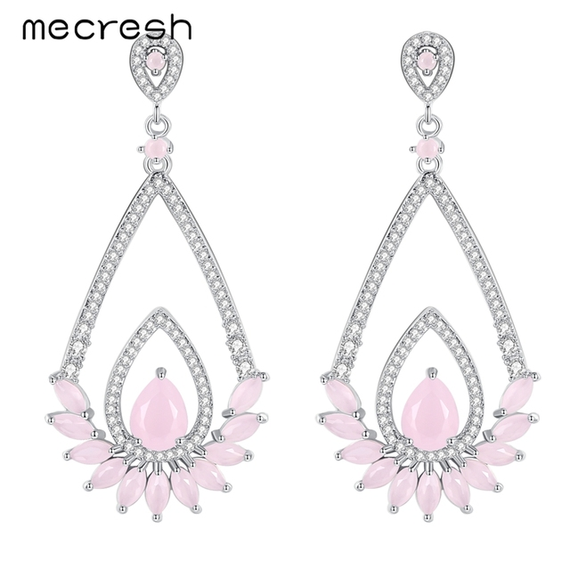 Mecresh Simple Teardrop Dangling Earrings For Women Pink Austrian Rhinestones Prom Party Long Christmas Jewelry