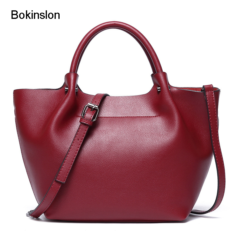 Bokinslon Leather Bags Women Big Bags Split Leather Fashion Woman Shoulder Bags Solid Color Popular Female Crossbody Bags