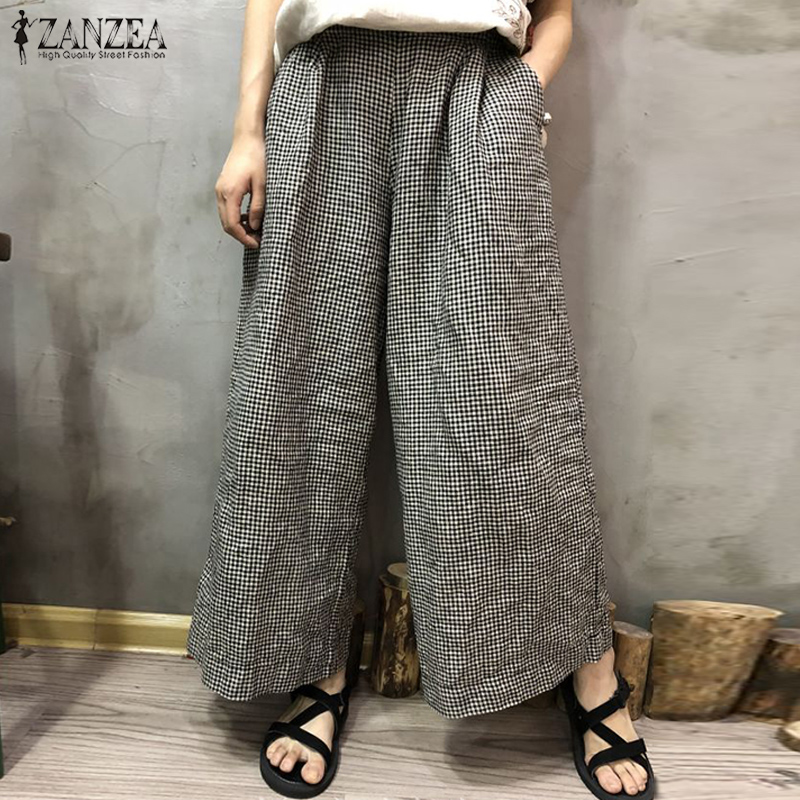 ZANZEA 2019 Autumn Wide Leg Trousers Casual Women Plaid Check Pockets Cotton Linen Pants Retro Loose Long Pantalon Plus Size