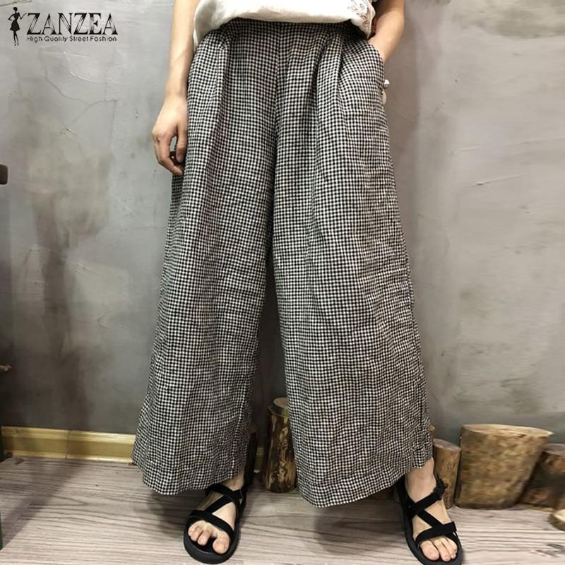 ZANZEA 2020 Autumn Wide Leg Trousers Casual Women Plaid Check Pockets Cotton Linen Pants Retro Loose Long Pantalon Plus Size