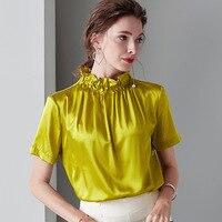 Золотая шелковая летняя футболка с высоким, плотно облегающим шею воротником пятностойкий шёлк футболка Femme высокое качество роскошные жен