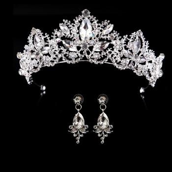 Wedding Crown Queen Bridal Tiara Bridal With Earring Luxury Rhinestone Headband Diadem Bride Hair Jewelry Ornaments 1