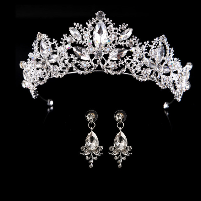 wedding crown queen bridal Tiaras bride crown with earrings headband Wedding  Accessories diadem mariage hair jewelry ornaments 1