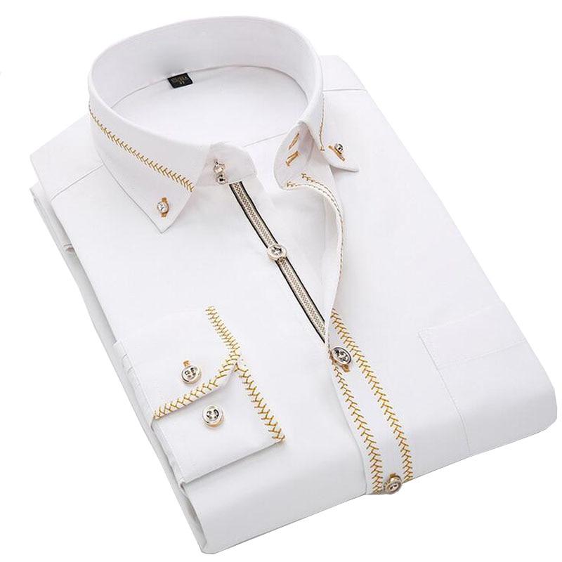 2017 Luxury Men Shirts Long Sleeve Mens Dress Shirts Cotton White Black Shirt Men Slim Fit