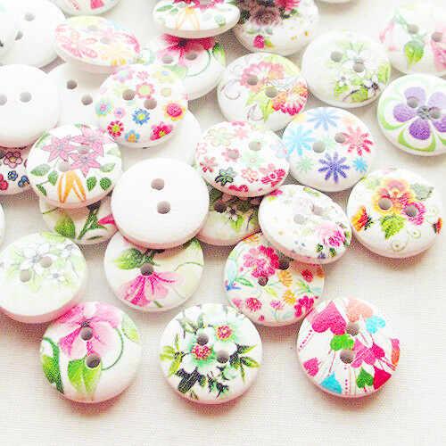 Suoja 30/50/100 adet adet bahar çiçekler ahşap düğmeler 15mm dikiş el sanatları Mix Lots
