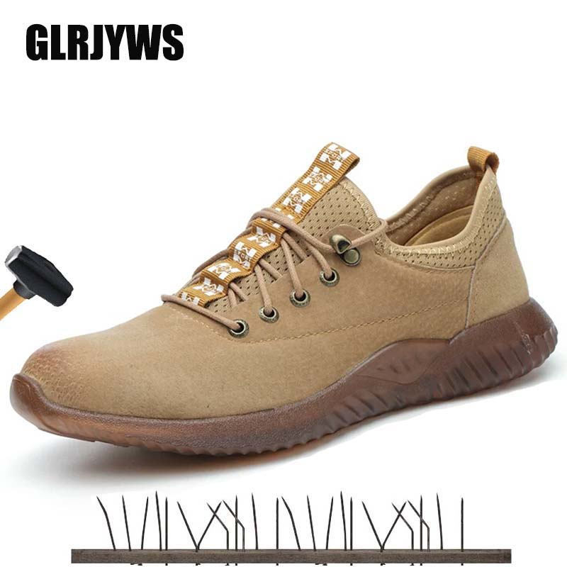 Labor insurance safety boots pigskin steel head anti-smashing stab-resistant gas-proof anti-slip beef tendon jelly work shoes