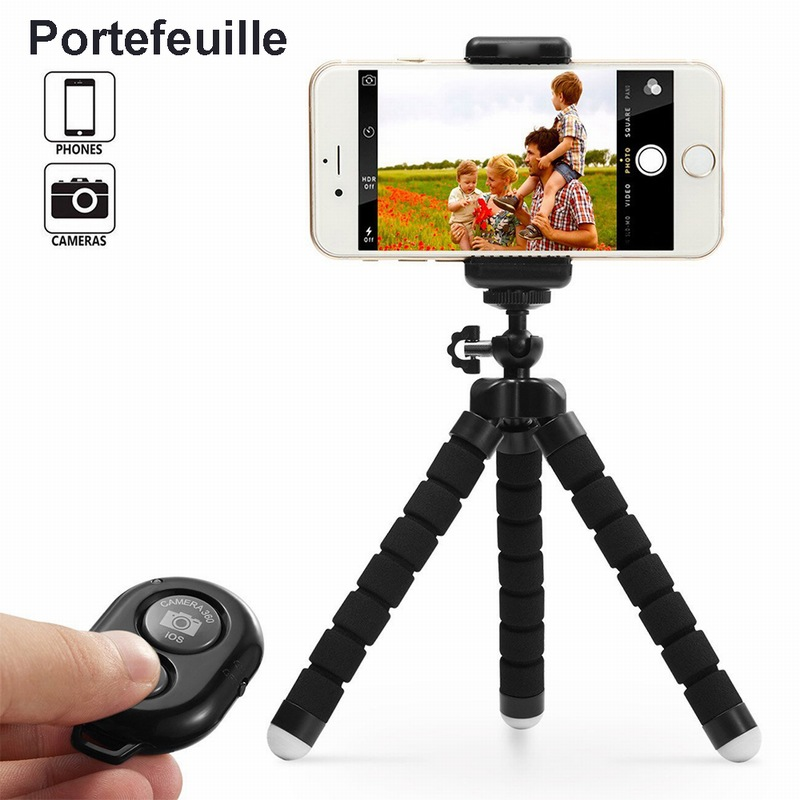 Galleria fotografica Portefeuille Flexible Octopus Phone tripod Stand Holder Bluetooth Remote Control Camera Shutter For iPhone 7 Plus 8 6 Smartphone