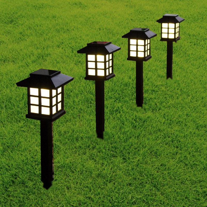 BORUiT LED Lawn Lamp Solar Garden Light with Smart Sensor Outdoor Retro Underground Landscape Light for Path Walkway
