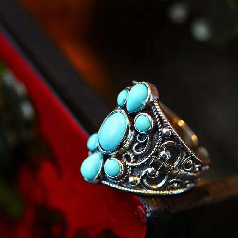 RADHORSE 925 Silver Rings For Women Fine Jewelry Turquoise Nepal Style Manual Ring Sterling Silver Ring Adjustable Silver