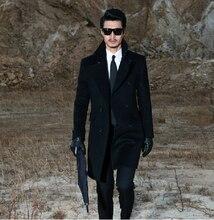 S-4xl осень зима мужчины бренд прилива приталенный шерстяная ткань пальто длинная кашемир плащ пальто