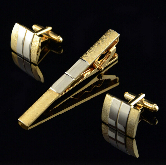 Cm023 High Quality Gold Vintage Jewelry Men S Tie Clips Cufflinks Sets Dress Wedding