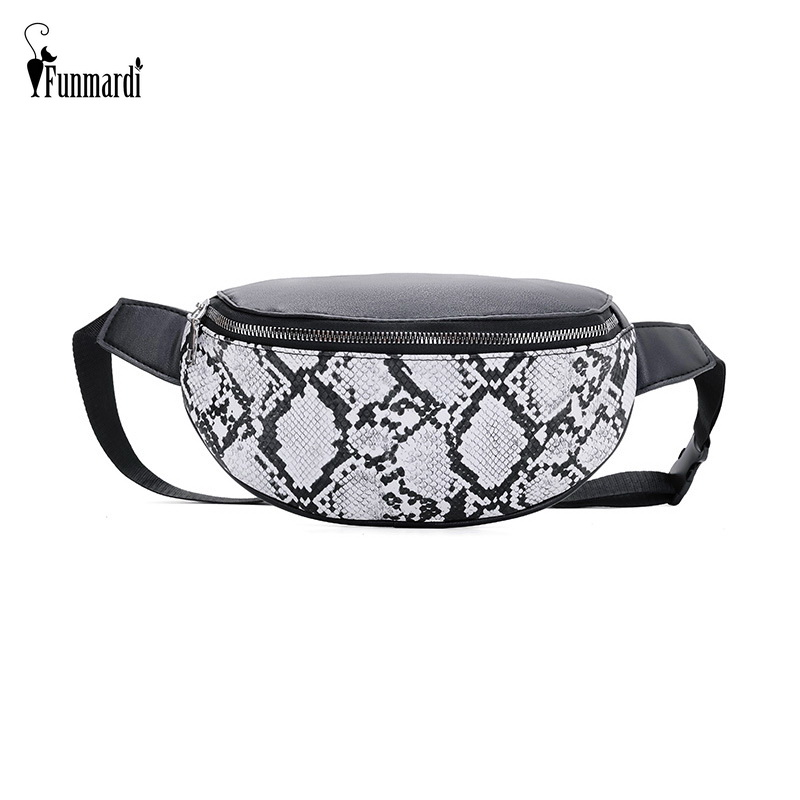 Funmardi Women Waist Pack Serpentine Fanny Pack Pu Leather Waist Bag Famale Fashion Snake Skin Chest Bag For Women Bags Wlhb1946