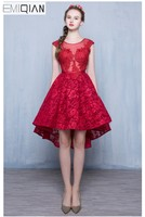 Мода 2016 года цвет красного вина Кружево трапециевидной формы без рукавов короткое коктейльное платье невесты Вечернее Сексуальная спинки