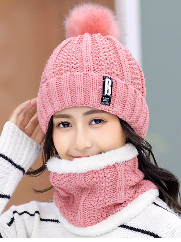 Hat Female Bonnet Beanies-Hats Riding-Sets Letter Skullies Knit Thick Women Brand Outdoor