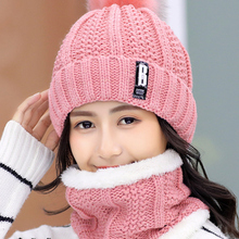Hat Bonnet Beanies-Hats Riding-Sets Letter Skullies Knitted Female Outdoor Winter Women