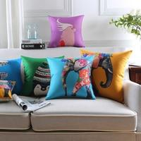 Animal Series Cartoon Style Throw pillow cover Decor Cushion Linen Cotton Elephant Printed Pattern Throw Pillow Cushion