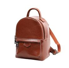 Amasie New arrival vintage women backpack classic genuine leather school bag small brand design bag sac