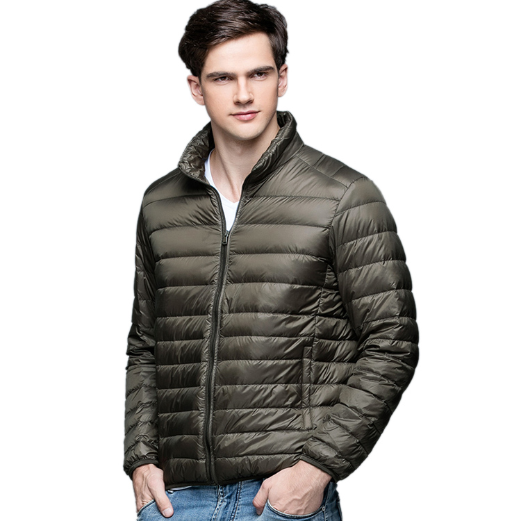 Coat Spring-Jackets Ultra-Light Winter Thin New Autumn Man Outerwear Stand-Collar Plus-Size