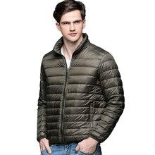 Yeni sonbahar kış erkek ördek aşağı ceket Ultra hafif ince artı boyutu bahar ceketler erkekler standı yaka dış giyim ceket