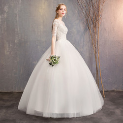 LYG-H15#It's Ivory white wedding dress lace up Floor-Length Bride's marriage dresses Ball Gown cheap wholesale 2