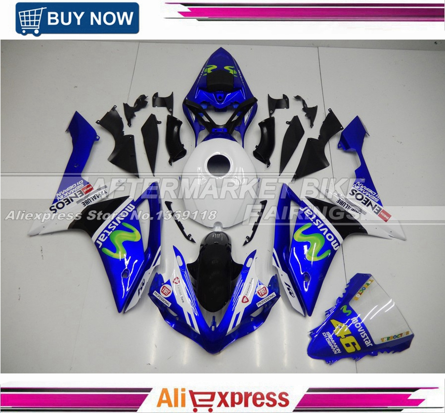 2007 2008 R1 ABS Plastic Fairing Cover For Yamaha 07 09 YZF R1 Motorbike Fairings Kit MOVISTAR Top Grade Quality Bodyworks for yamaha yzf 1000 r1 2007 2008 yzf1000r inject abs plastic motorcycle fairing kit yzfr1 07 08 yzf1000r1 yzf 1000r cb02