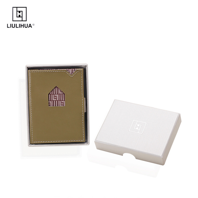 LLH CUSTOMIZED NAME BUSINESS GIFT CREDIT ID LEATHER CARD HOLDER