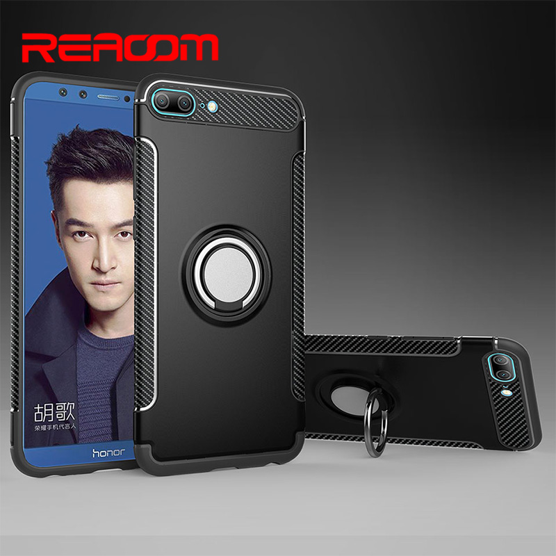 Reaoom for Huawei Honor 9 Lite Case Magnetic Ring Holder Armor Coque for huawei honor 9 lite Cover Funda Soft Silicone Hard PC