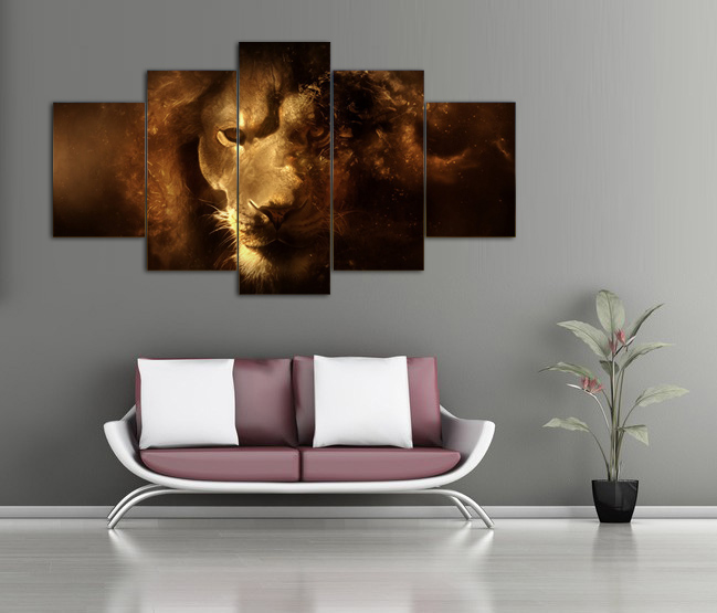 Free shipping 5 panel modern canvas art lion oil painting on canvas for decorative picture living room wall painting F/1387