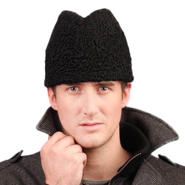 8eca9d0fd89 Men s Persian Lamb Fur Skull Fedora Hat Black-in Fedoras from ...