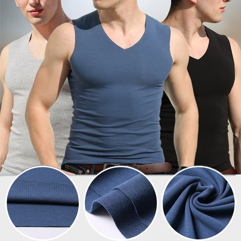 Men's Summer Seamless Elasticity   Tank     Top   Comfortable Vest Undershirt Sleeveless V Neck Soft Solid Vest New Fashion Casual   Tops