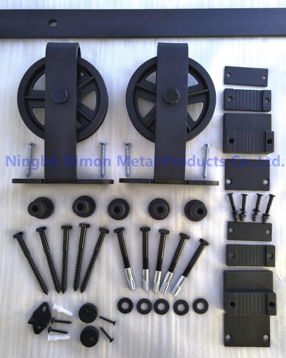 Dimon personnalisé porte coulissante matériel bois grange porte matériel suspendus roue style américain porte coulissante matériel DM-SDU 7209