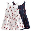 Girls Cartoon Cheery Print Sleeveless Dress Children Soft Cotton Princess Dress Girl Summer Sundress