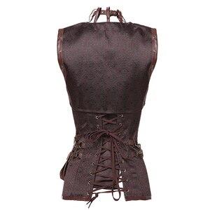 Image 2 - Dobby Faux cuir Punk Corset acier désossé gothique vêtements taille formateur Basque Steampunk Corselet Cosplay fête tenues S 6XL