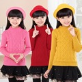 Meninas do bebê Em Torno Do Pescoço Pullovers Camisolas Casacos Crianças Roupas de Inverno Sólida crianças Camisa de Malha Roupas 18 M 2 4 6 8 10 12