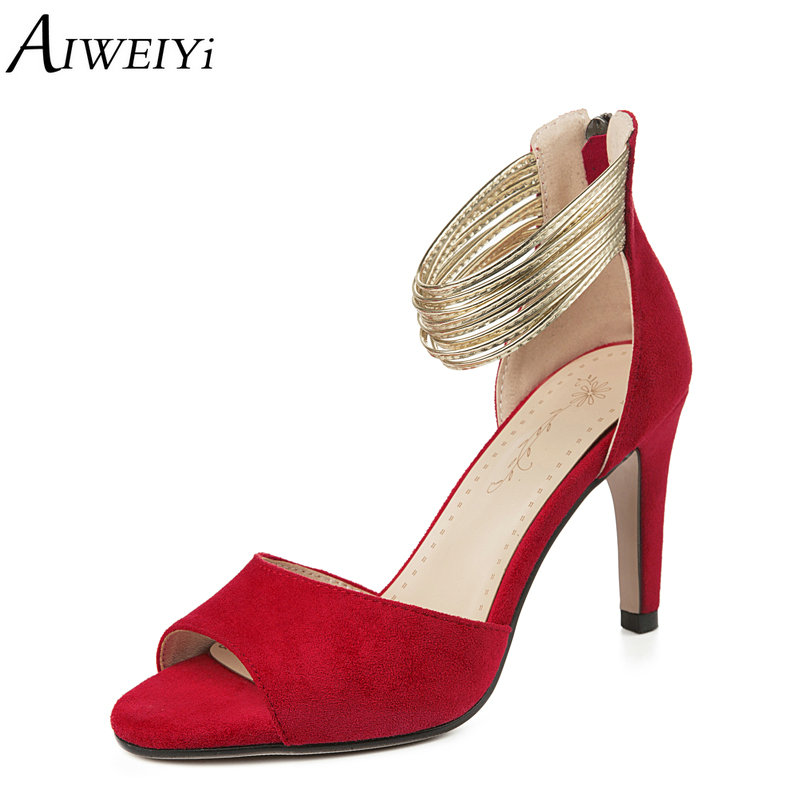 AIWEIYi Stiletto Heels Summer Sandals New Fashion Peep Toe Zip High Heels Platform Sandals Red Ladies Party Dress Shoes