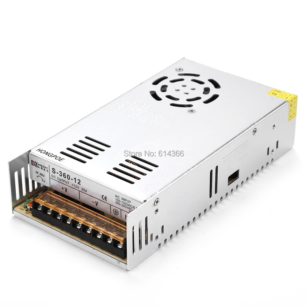 36PCS Best quality 12V 30A 360W Switching Power Supply Driver for LED Strip AC 100-240V Input to DC 12V30A 36pcs best quality 12v 30a 360w switching power supply driver for led strip ac 100 240v input to dc 12v30a