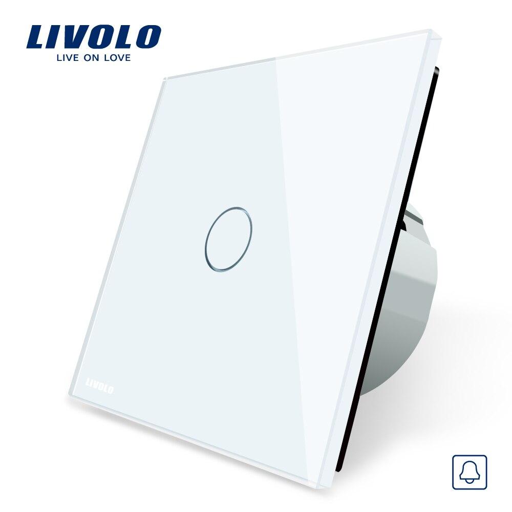 2017 EU Standard Door Bell Switch Crystal Glass Switch Panel 220 250V Touch Screen Door Bell