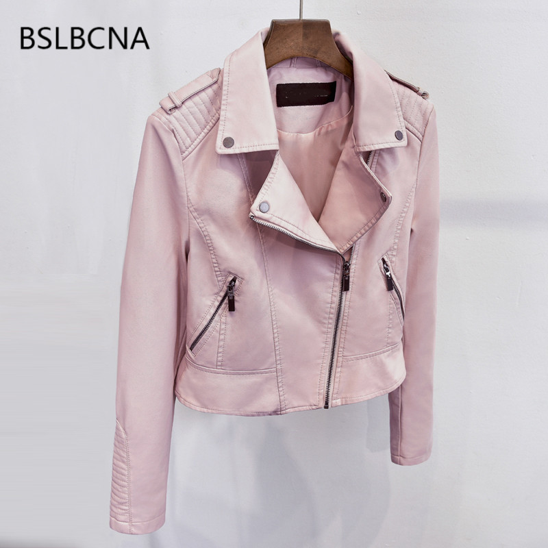 Korean Style Spring Autumn 2018 Sexy Mujer Pink Short Pu Biker Jacket Female Faux   Leather   Slim Motorcycle Coat Women Clothes A82