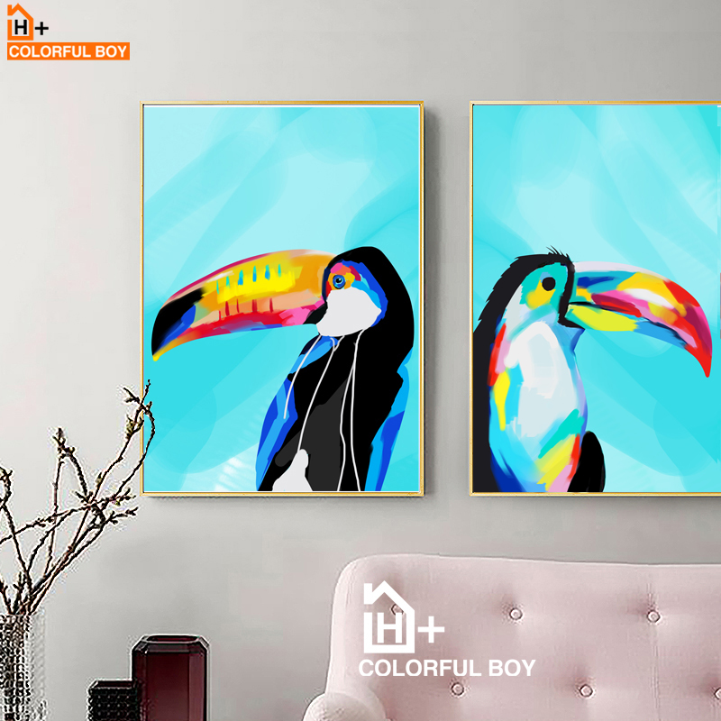 Watercolor Toucan Bird Wall Art Canvas Painting Nordic Posters And Prints Animals Pictures For Living Room Decor