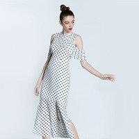 White Black Polka Dot Dress Cold Shoulder Mermaid Slip Up Dress Midi