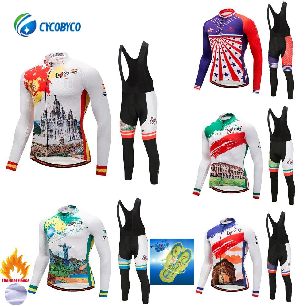 Cycobyco thermique polaire cyclisme Maillot ensemble hiver vélo Maillot Ropa Ciclismo manches longues vêtements USA, italie, France, brésil, espagne