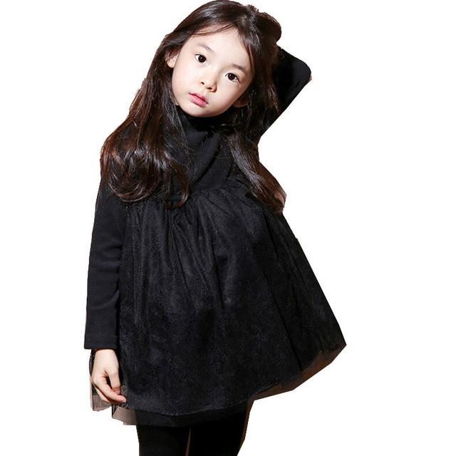 2017 зимние для маленьких девочек кружевное платье утепленное платье; теплое Хлопковое платье для девочек Дети милая, стильная удобная материи С водолазка