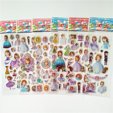 6 sheets Bubble Stickers 3D Cartoon little Princess Sofia pegatinas Classic Toys Scrapbook Kids Gift Reward Sticker for girls
