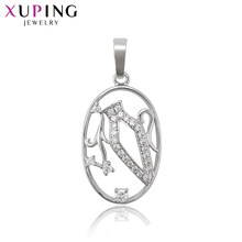 Xuping Jewelry Oval Design Vase Inlay Slide Rhodium Color Plated Pendant for Women Christmas Gifts S119,5-34144(China)
