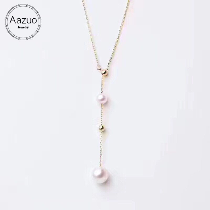 Aazuo Natural Freshwater Pears 4 5 5 7 5 8mm Real 18K Yellow Gold Choker Line